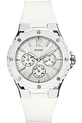 GUESS STEEL W90084L1,Women's Dress Sport,White-Tone,White Dial,50m WR