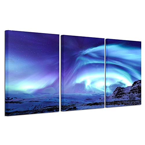 Kreative Arts 3 Panel Wall Art Painting Starry Night Sky Blue Green Northern Lights Prints On Canvas Landscape Pictures Home Modern Decoration 16x24inchx3pcsLiving Room (Glossy Night Light)
