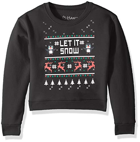 Hanes Big Girls Ugly Christmas Sweatshirt, Ebony, X ()