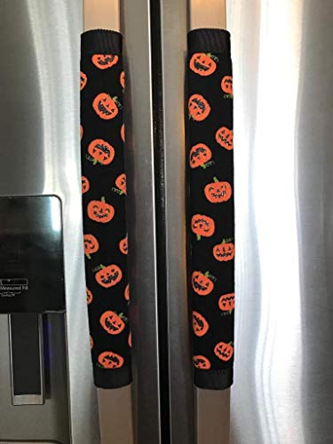 connie's creation design Refrigerator Door Handle Covers Set of Two Halloween Pumpkin Theme 13L X 5W]()