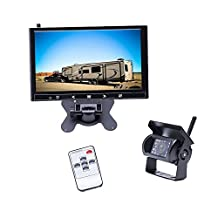Camecho Wireless Backup Camera 9 inch HD Full Color Monitor 18 IR Night Vision Waterproof Built-in Wireless Signal Chips Rear Camera for Trailer /Truck / RV / 5th-wheel / Caravan (2370ghz wireless backup camera)