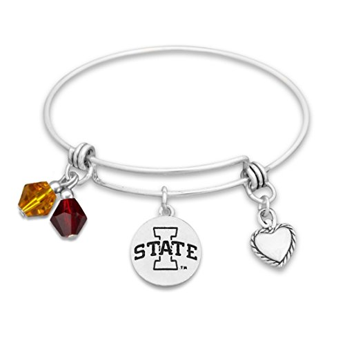 Iowa State Cyclones Silver Tone Bangle Bracelet, Colored Beads and Heart (Charm Colored Beads)