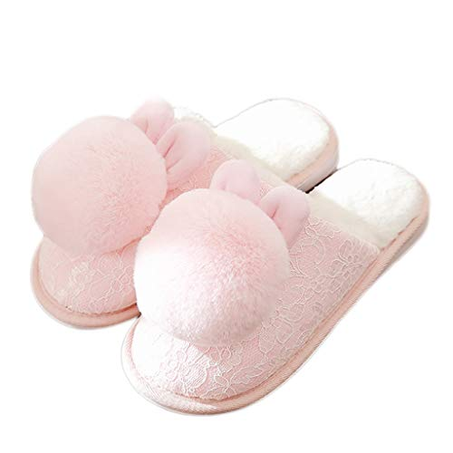 AMINSHAP Schuhe Pink Female Hausschuhe Paar Warm Farbe 35 Plüsch Dicke größe Baumwolle Hausschuhe Cute Kruste 36EU Hause SCHWARZ Winter Indoor rqOr1