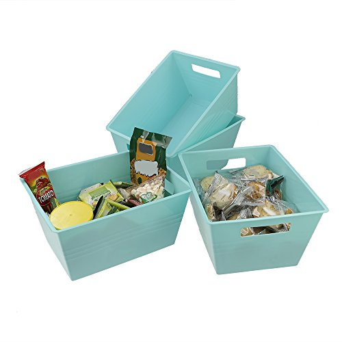 Kekow Desktop Storage Bin for File Storage, Notepads and Envelopes Organizer, 4-pack (blue) by Kekow