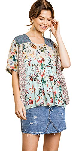 - Umgee Women's Floral Mixed Print Square Neck Top (Small, Mint Mix)