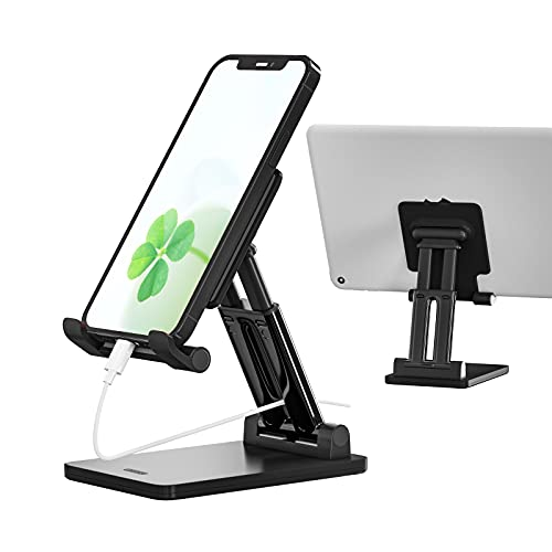 Phone Stand for Desk, Cell Phone Dock: Cradle, Holder for Office Desk, Angle and Height Adjustable, Compatible with Switch, Tablet, iPhone, ipad, All Smart Phone - Black