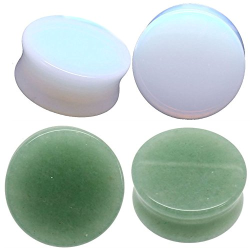 Green Jade Saddle (Ear gauges ear plugs combo 2 pairs total Solid Green Jade &Solid Opalite 4 pieces (25MM-1 INCH))