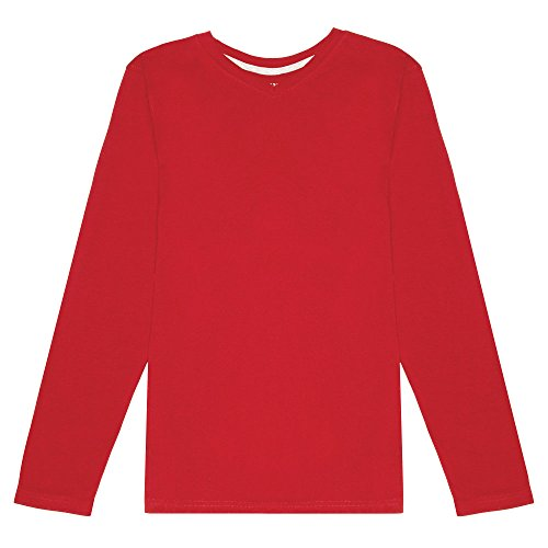 Tee Thermal Red Long Sleeve - French Toast Boys' Little Long Sleeve V-Neck Tee, Red, 7