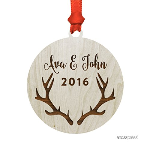Antler Ornaments (Andaz Press Personalized Laser Engraved Wood Christmas Ornament with Gift Bag, Deer Antlers Shape, 2017, Custom Name, 1-Pack)