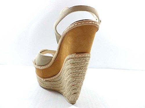 Zapatos Mujer EDDY DANIELE 40 Sandalias Cuñas Beige Gamuza AX677