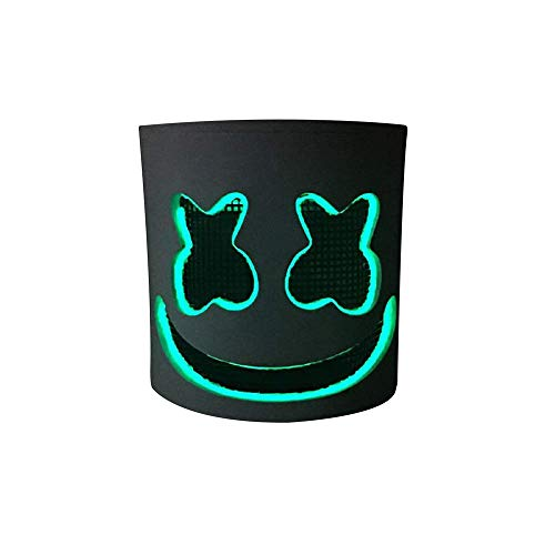 Music DJ LED Mask Party Prop Full Head Mask Halloween Cosplay Replica Party Props Latex Helmet]()
