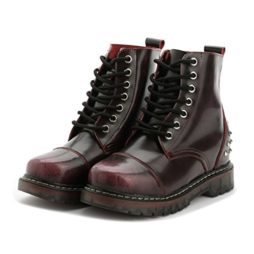 Autumn Melody Stylish Women Martin Boots Personalized Rivet Lacing Short Boots Size 6.5 US Red (Lowes Garden Seat)