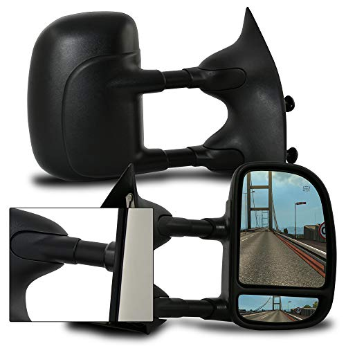 (Make Auto Parts Manufacturing Right Side Textured Black Manual Folding Power Operated Telescopic Tow Side View Dual Swing Mirror For Ford Super Duty F250 / F350 / F450 / F550)
