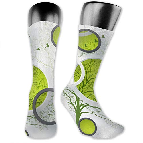 (Circles Tree Birds Green Filter Abstract High Ankle Socks Sport Casual Cute Crew Sock For Gir Teen 15.7 Inches)