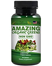 Amazing Organic Greens Dietary Supplement | Whole Food | Organic Greens | Organic Fruits | Organic Vegetables | Non GMO | More of The Good Stuff! | Made in USA | 60 Tablets