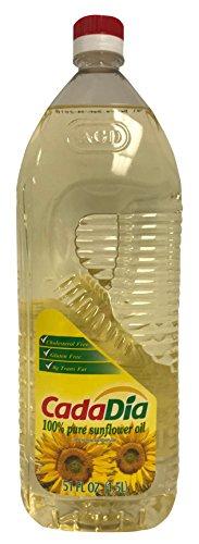 Pure Sunflower Oil 1.5 L (51 Fl Oz) (1.58 QT) First Cold Press NON GMO by CadaDía