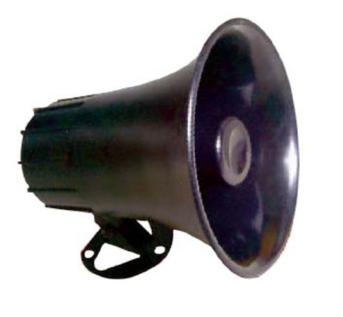 "All-Weather Mono Trumpet Horn Speaker - 5"" Portable PA Speaker with 8 Ohms Impedance & 25 Watts Peak Power - 180 Degree Swiveling Adjustable Bracket for Easy Maneuverability - Pyle PSP8 - Peak Pa Speaker"