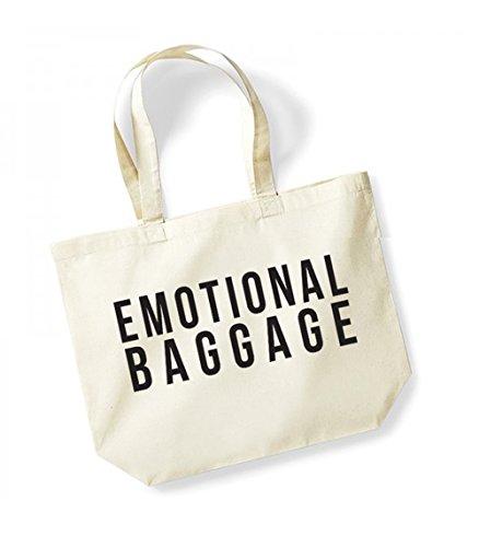 Emotional Baggage - Large Canvas Fun Slogan Tote Bag Natural/Black
