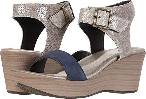 NAOT Women's Caprice Sandal Beige Lizard Leather/Navy Velvet Nubuck Size 39 EU (8.5-9 M US Women)