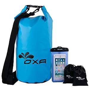 20L Waterproof Dry Bag, OXA Roll Top Closure Dry Sack with Dual Shoulder Strap, Durable Lightweight Premium Waterproof Dry Sack Bags for Kayaking Boating Rafting Swimming Fishing Snowboarding Blue