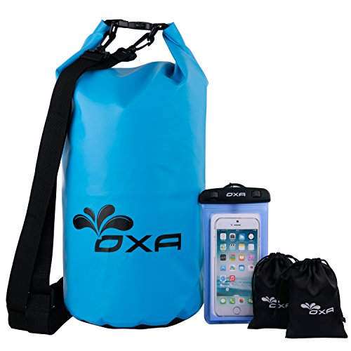 20L Waterproof Dry Bag, OXA Roll Top Closure Dry Sack with Dual Shoulder Strap, Durable Lightweight Premium Waterproof Dry Sack Bags for Kayaking Boating Rafting Swimming Fishing Snowboarding Blue