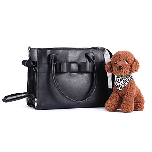 Cheap BELLAMORE GIFT Airline Approved Fashionable Pet Handbag for Small Animals Dog Puppy Chihuahua Yorkie Kitten (Black / 2 Ways)
