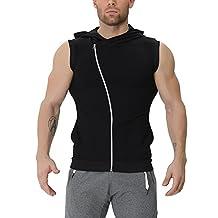 EU Men's Fitness Workout Gym Sleeveless Hoodie Bodybuilding Muscle Vest