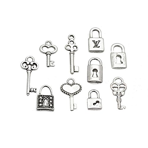 Pandahall 5 Sets(10pcs/set) Mixed Style Key and Lock Tibetan Style Alloy Charms Lead Free, Antique Silver