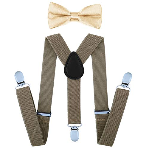 (Child Kids Suspenders Bowtie Set - Adjustable Suspender Set for Boys and Girls(25Inches (5 Months to 6 Years),Camel))