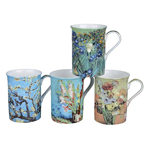 Gracie Bone China Impressions 9-Ounce Mug, Set of 4