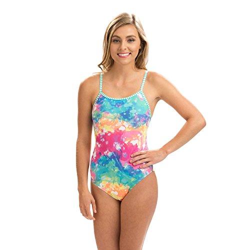 Dolfin Women's Uglies Double Strap Back One Piece Swimsuit (Rainbow Drop, 30)