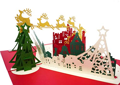 Christmas City Premium 3D Pop Up Card, Metallic Paper, Embossing Foil Unique Style, Handmade Holiday Greeting Card With Envelope and Message Page