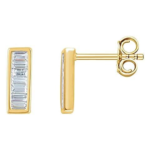 14K Yellow Gold 1/3 CTW Diamond Baguette Bar Earrings
