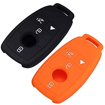 Lcyam Silicone Remote Key Fob Covers Smooth Soft Rubber Case Fits for Mercedes-Benz A220 E63S AMG E-Class GLE 350 4MATIC 2020 2020 (Black Orange): Automotive