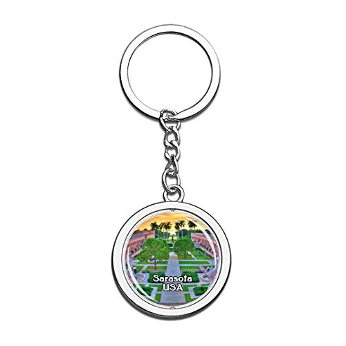 USA United States Keychain The Ringling Sarasota Key Chain 3D Crystal Spinning Round Stainless Steel Keychains Travel City Souvenirs Key Chain Ring]()