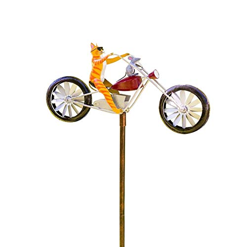 bestheart Cat&Mouse Motorcycle Garden Pinwheels Whirligigs Wind Spinner Kids Toys Windmill Decor Durable Garden Ornaments Outdoor Decorations for Patio Lawn Yard