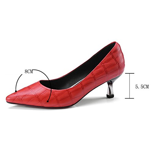 Nero Slip Shoes Work Scarpa Office Kitten Pumps Comodo Basso On Casual Rosso Womens Court Stiletto rosso Mid Ladies Heels Heel U8PppB