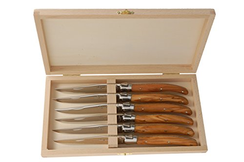 Jean Dubost Laguiole Knives with Olive Wood Handles, Set of 6