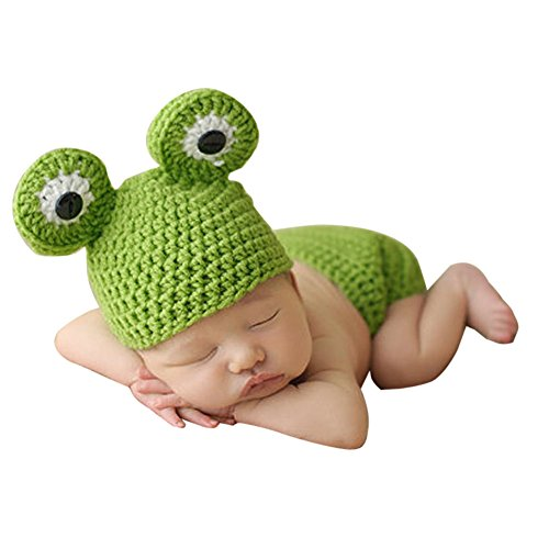 Sikiwind Hand Knitted Baby Hat Baby Crochet Photo Props Frog Hats for Infant (Hand Knitted Hat)
