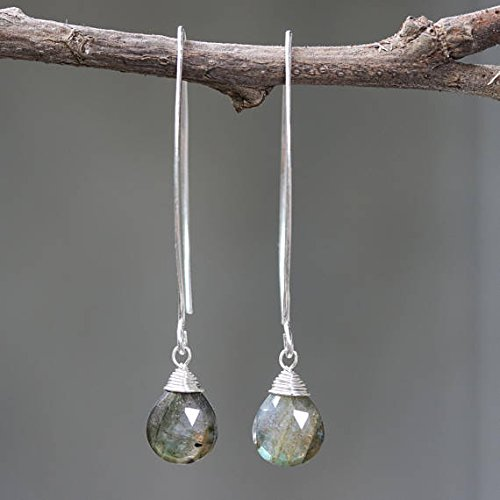 Silver wire earrings with labradorite drop