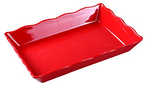 Yanco DC-6114R Deli Collection Scallop Edged Display Tray, 14'' Length, 9.5'' Width, 2'' Height, Melamine, Red with Black Speckled, Pack of 6 by Yanco