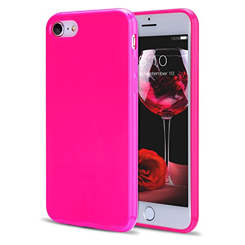 - iPhone 8 Case, iPhone 7 Case, FGA Sugar Candy Cute Fashion Shockproof Protective Slim Fit Solid Color Soft Flexible TPU Gel Case Cover for iPhone 8(2017), iPhone 7(2016) 4.7 inch(Hot Pink)