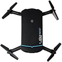 Dazhong Foldable Quadcopter Drone with WIFI Control Aerial Video 2.0MP HD Camera Drone 2.4G 4CH 6-Axis Gyro RC Helicopters Altitude Hold Mode And One-key Return Headless (X102-Black)