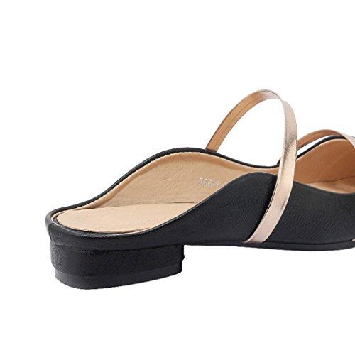 Sui Nero Appartamenti Stretta Jushee Pantofole Mulo Senza Punta Sandali Femminili Banda Punta Vestito A Scivola Scivolare Scarpe Schienale pu z0ZTOwq