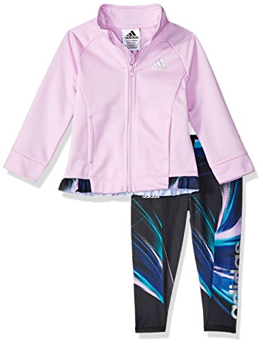 adidas Baby Girls Zip Jacket and Pant Set, Clear Lilac ADI 1, 6 Months