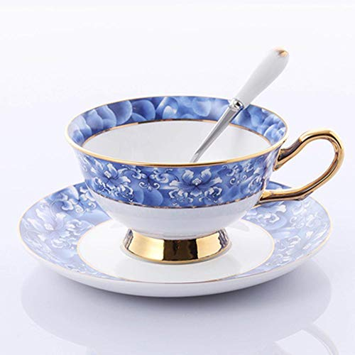 ACOOME Tea Cup and Saucer Set-6.8oz Bone China Teacup Fine Dining and Table Decor - Peony Saucer Blue