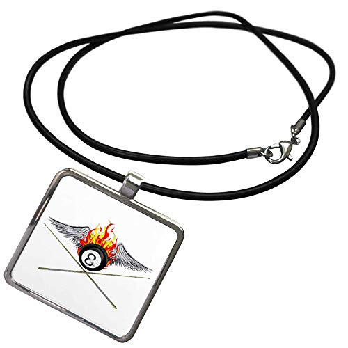 (3dRose Macdonald Creative Studios - Billiards - Flaming 8 Ball and Pool cues for Anyone who Plays Billiards or 8 Ball. - Necklace with Rectangle Pendant (ncl_299266_1))