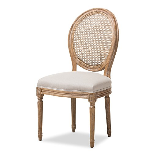 Baxton Studio Darleneweathered Oak Round Cane Back Beige Fabric Upholstered Dining Side Chair