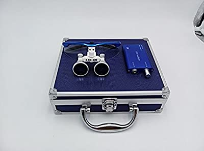 Dental Power Dental Binocular Loupes 3.5X 420mm + LED Head Light Lamp +Aluminum Box (Blue) by Dental Power