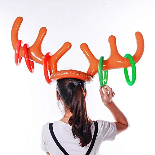 Extra Large Deer Antlers, Elevin(TM)  2PC Inflatable Reindeer Christmas Hat Antler Ring Toss Holiday Party Game -